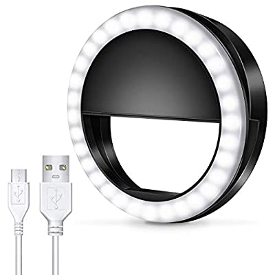 Meifigno Selfie Phone Camera Ring Light with [Rechargeable] 36 LED Light, 3-Level Adjustable Brightness On-Video Lights Clips On Night Makeup Light Compatible for iPhone Samsung Photography from Meifigno