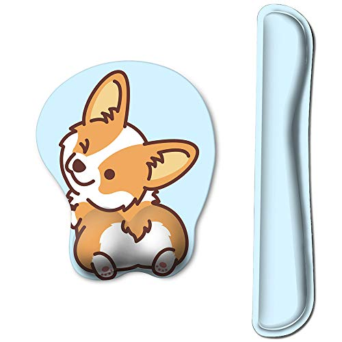 HAOCOO Keyboard Pad Wrist Rest and Gel Mouse Pad with Wrist Support,Ergonomic Corgi Mouse Pads with Non-Slip Backing Memory Foam Filled, Easy Typing &Pain Relief for Home Office Computer Laptop(Blue)