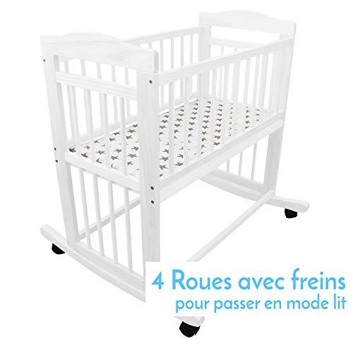 Monsieur Bébé ® Berceau 40 x 80 cm - Mode bascule ou roulette - Deux coloris - Norme NF EN1130-1...
