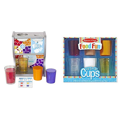 Melissa & Doug Wooden Thirst Quencher Drink Dispenser (10 Pieces, Best for 3, 4, 5, 6, and 7 Year Olds) & Create-A-Meal Food Fun – Fill 'Em Up Cups - Play Food and Kitchen Accessories Role Play Toy