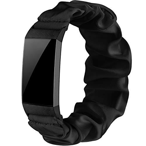 Wanme Correa Compatible con Fitbit Charge 4 Fitbit Charge 3 Correa, Tela Elástica Tela Correas para Relojes Patrón Pulsera Estampada Tejida, Mujeres (Negro, S)