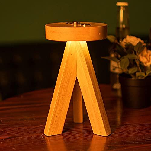 LANMOU Lámpara de Mesa de Madera Trípode LED Recargable, Lámparas de Escritorio Inalámbrica LED Regulable con Control Táctil Lámpara Mesa de Noche Sin Cable para Dormitorio