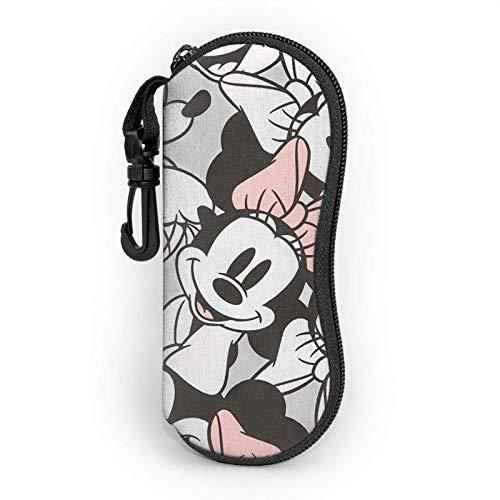Estuche de gafas de Mickey Minnie con mosquetón para hombres, mujeres y adolescentes y niñas para gafas de sol de moda suave funda ultra ligera con cremallera de neopreno