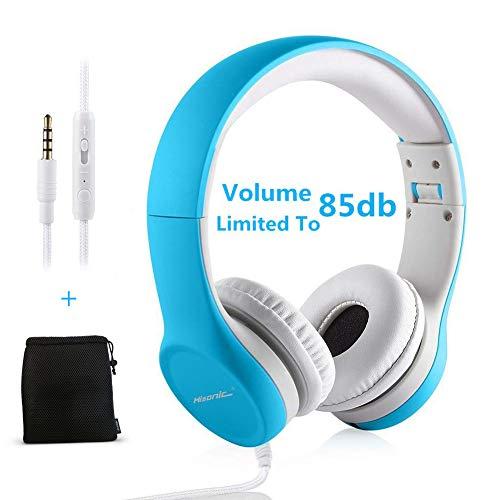 Hisonic Auriculares para Niños, Accesorios para Tablets Volume Limited Auriculares sobre el oído Auriculares Plegables con Conector Share para niños. (Azul)