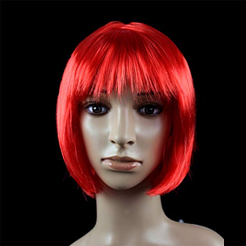 JKL African Female wig Short Hair wig Black Hair wig Small Volume Explosion Headgear European and American Hot wig Set (Color : Orange)