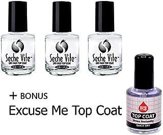 Seche Vite Top Coat 3pc + Excuse Me Quick Dry Nail Polish Top Coat 0.5 oz 15ml