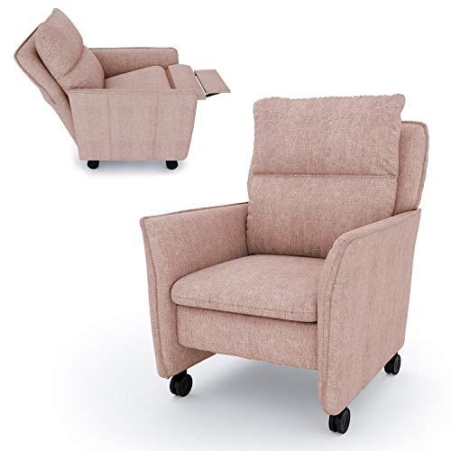 place to be. Relaxsessel mit Liegefunktion und Schlaffunktion auf Leichtlauf-Rollen Fernsehsessel TV-Sessel rollbar lachs P9612 mit Fleckschutz manuell