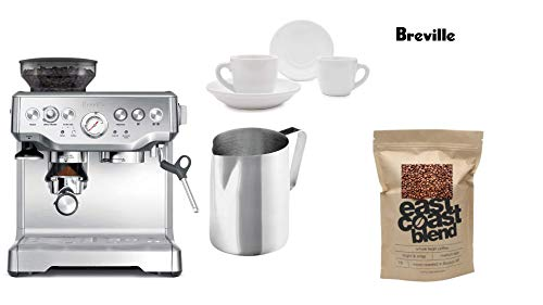 Breville the Barista Express Espresso Machine, BES870XL+ East Coast Blend Whole Bean Coffee (1-Pound) + 2 x 3 oz Ceramic Tiara Espresso Cup and Saucer + Stainless Steel Frothing Pitcher