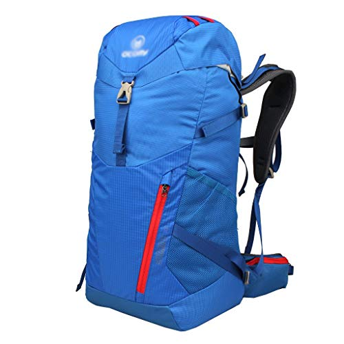 HLJ Outdoor Professional Mountaineering Bag Shoulder Men and Women Large Capacity Waterproof 30L Travel Backpack + Send Rain Cover Multi-Function Waterproof (Color : Blue)