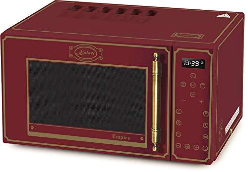 Kaiser Empire M 2500 RotEm Retro Mikrowelle • Mikrowellenofen mit Grill und Heißluft • Retro-Design • Glasfront Rot Griff Bronze• 25l Edelstahl Garraum • Timer • 21 Funktionen
