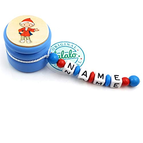 LALALO Zahndose mit Namen, Sandmann, Zahnbox Holz Milchzähne Box Gravur, Milchzahndose Zahndöschen für Kinder personalisiert (Blau/Rot)