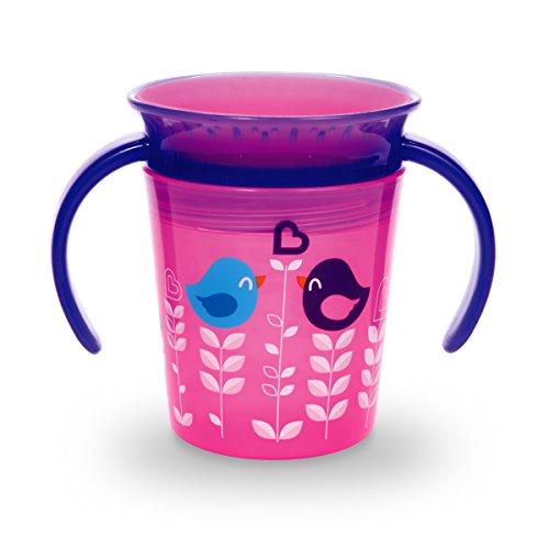 Munchkin Miracle 360ᵒ Deko-Trinklernbecher mit Griffen, rosa mit Vogelmotiv, 177 ml - 3