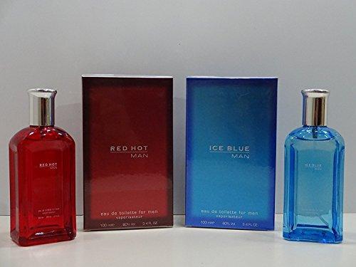 2 x Parfums pour homme ~ Ice Blue Man EDT 100 ml Parfum Pour homme + Red Hot Man 100 ml Eau de toilette pour homme.