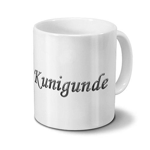 printplanet Tasse mit Namen Kunigunde - Motiv Chrom-Schriftzug - Namenstasse, Kaffeebecher, Mug, Becher, Kaffeetasse - Farbe Weiß