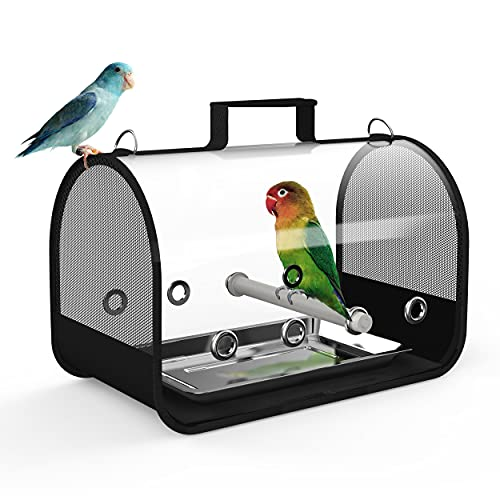 Blue Mars Bird Carrier,Small Bird Travel Cage Carrier,Portable & Breathable & Transparently Foldable Pets Cage with Bird Perches(Small 14' x 8' x 8')