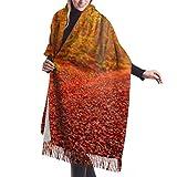 Bufanda de mantón Chales para, Bufanda de invierno unisex con sensación de cachemira clásica, sensacional paisaje otoñal, puesta de sol, hojas rojas, bufandas largas y cálidas, estola de mantón