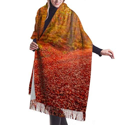 Pashmina Shawls and Wraps Scarf, Classic Cashmere Feel Unisex Winter Scarf, Sensational Autumn Landscape Sunset Red Leaves Long Large Warm Scarves Wrap Shawl Stole