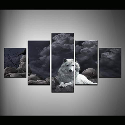 MAOYYM1 Abstract Schilderij Fotobehang Voor Woonkamer Decoren Schilderij 5 Panel Dieren Wolf En Kraai Hd Poster Canvas No Frame 40x60 40x80 40x100cm