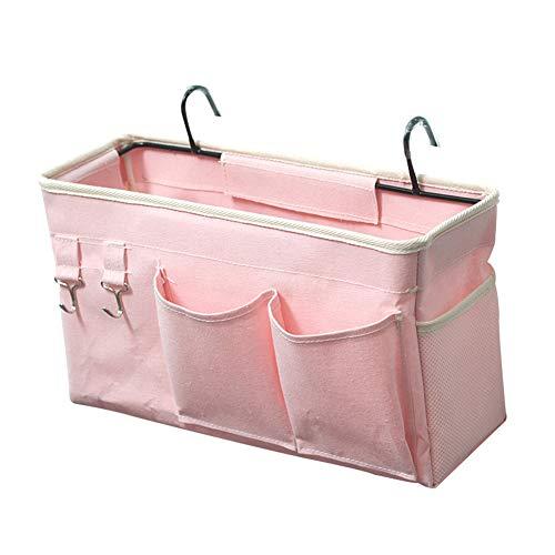 Loghot Bedside CaddyBedside Storage Bag Hanging Organizer for Bunk and Hospital BedsDorm Rooms Bed RailsCan be Placed GlassesBooksMobile PhonesKeys Light Pink