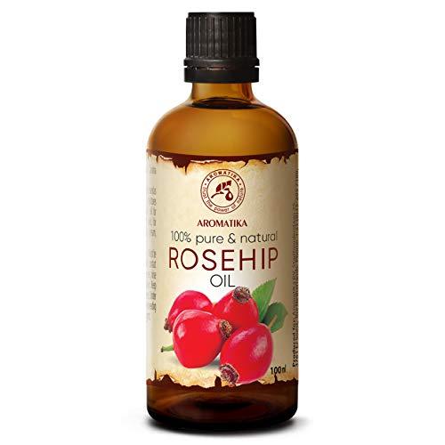 Aceite de Rosa Mosqueta 100ml - Rosa Canina Fruit Oil - Chile - Prensado en Frío - 100% Puro y Natural - Aceites Base - Aceite de Semilla de Rosa Mosqueta - Cuidado de Cara - Cuerpo - Cabello