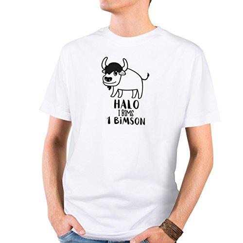 JUNIWORDS Herren T-Shirt mit rundem Ausschnitt - Halo i bims 1 Bimson Wähle Größe & Farbe Größe: XL - Farbe: Weiß