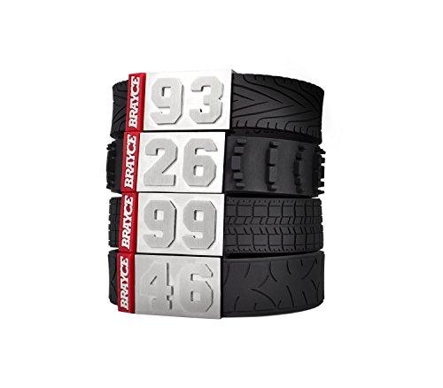 BRAYCE Pulsera de automovilismo número del 00 al 99 con Estilo de neumático (Banda de Rodadura, neumático de Carreras, Motocross, Moto de Carreras): una Joya para los Aficionados a MotoGP, Fórmula 1