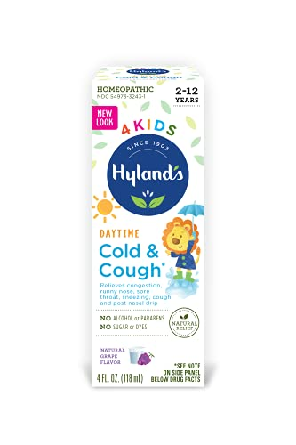 Cold Medicine for Kids Ages 2+ by Hylands, Cold and Cough 4 Kids Grape, Daytime, for Cough, Decongestant, Allergy and Common Cold Symptom Relief, 4 Fl Oz Each