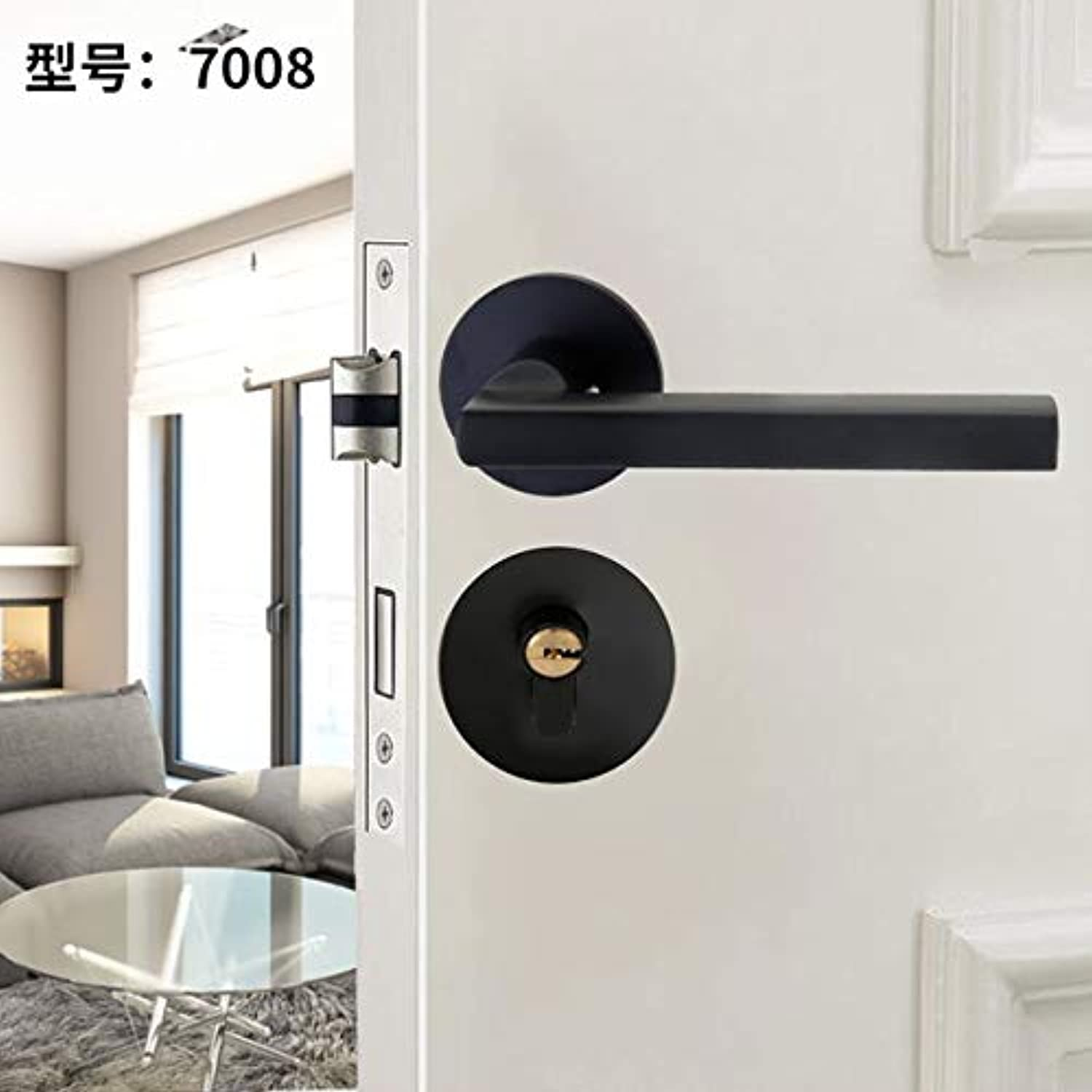 Household HighQuality Aluminium Door Lock Black Indoor Lock Solid Wood Door Handle Lock American Silent Split Lock  (color  Black7008)
