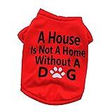 Garretlin - Camiseta de verano para mascotas (algodón, manga corta, impresión inglesa)