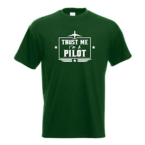 Kiwistar Croyez-Moi, en un avión piloto, camiseta estampada Bouteille Verte XXL