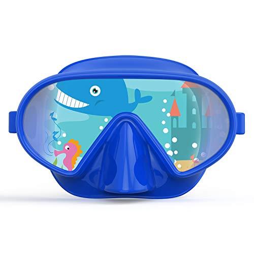 Fxexblin Gafas y Tubo Snorkeling Anti-Vaho Anti-Fuga Máscara de Buceo para niños (Deep Blue)
