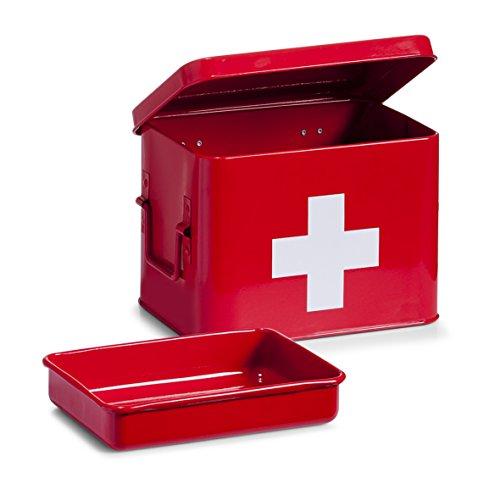 Zeller 18115 Medizin-Box, Metall, rot, ca. 21,5 x 16 x 16 cm