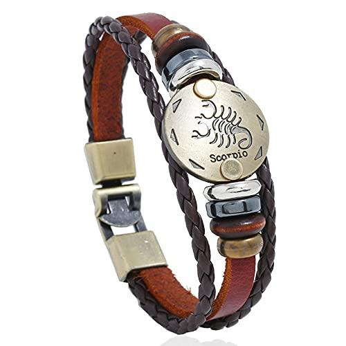 N/A Damen- und Herrenaccessoires 12 Sternbild Rindsleder Armband Schmuck Handgewebte Perlen Vintage Lederarmband Hochzeitstag Muttertag Weihnachten Geburtstagsgeschenk