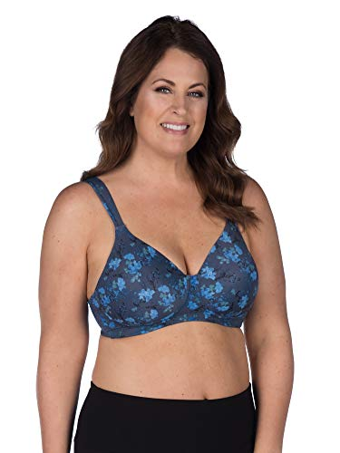 LEADING LADY Women's Plus-Size Wireless Padded T-Shirt Bra, Blue Floral, 54D