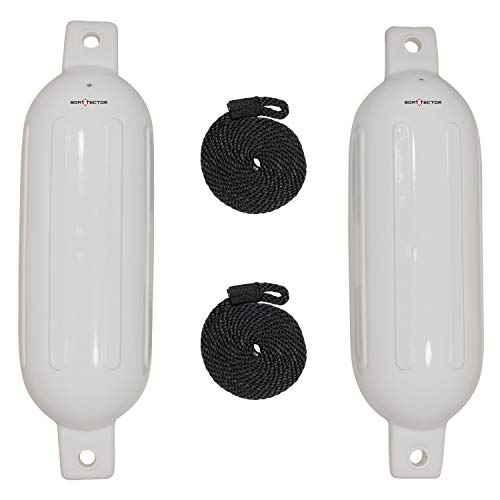 """Extreme Max 3006.7201 BoatTector Fender Value 2-Pack - 6"""" x 22"""", White"""