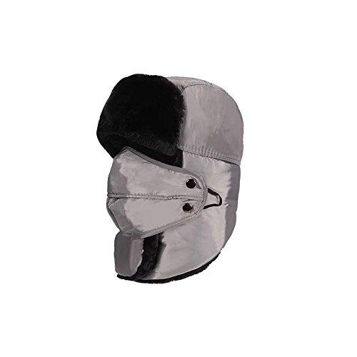 Gorras De Pasamontañas Impermeable Con Borregos Grueso Y Mascara Facial De Automatico Antiviento Cuello Abrocha Con Velcro Para Esquiar Ciclista Motorista De Invierno Unisex Mujer Y Hombre (Gris)
