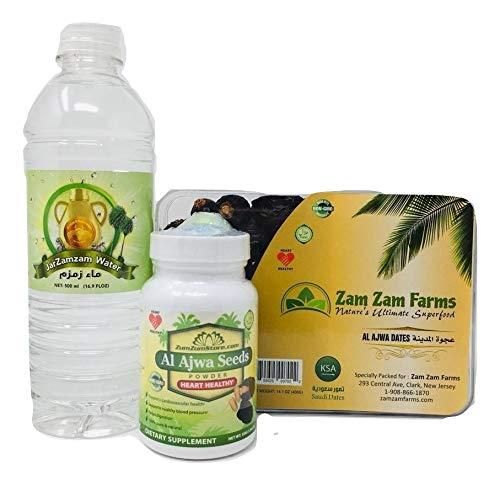 Al Aiwa dates 400g + Al Ajwa Seeds Powder + Zamzam Water 500ml (Ramadan Pack)
