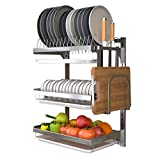 LSNLNN Utensil Holder,Stainless Steel Kitchen Dish Drying Rack, 3-Tier Dish Drainer Wall Mounted Dish Rack with Drip Tray, Adjustable Layer Height