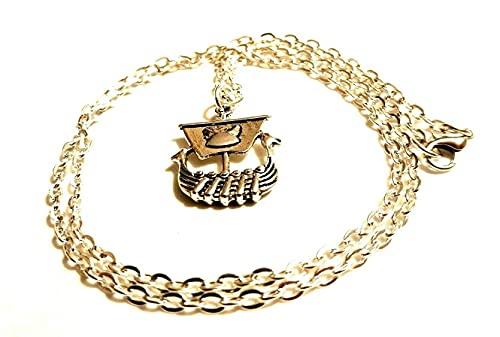 Collar de barco largo vikingo en una cadena chapada en plata de 55,8 cm, collar de mitología nórdica, barco de vela en una cadena vikingos G.O.T collar de regalo