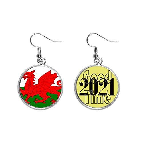 Ohrringe mit Wales-Nationalflagge, Europa, Länderohrringe, Ohranhänger, Schmuck 2021 Viel Glück