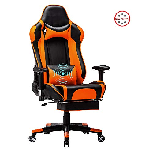 Computer Gaming Chair High Back Computer Racing Chair Ergonomic Adjustable Executive Swivel PC Chair with Headrest,Massager Lumbar Support,Retractible Footrest (Orange-1) chair footrest gaming