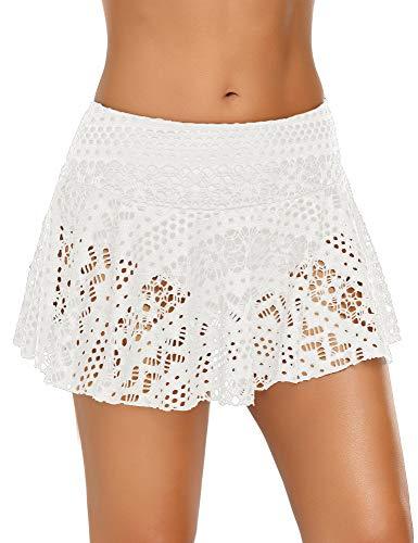 ACKKIA Damen Spitzen-Bikini-Hose, gehäkelt, kurzer Skort ,weiß ,US XL (EU 2XL)