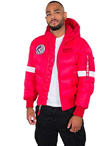 ALPHA INDUSTRIES Hooded Puffer Piumino con Cappuccio FD NASA, Speed Red, S Uomo