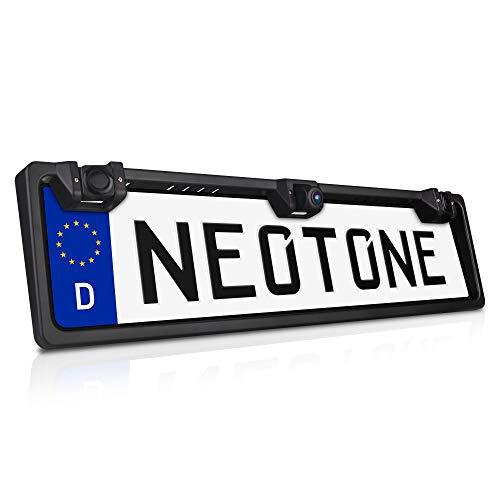NEOTONE NTK-200P universelle Rückfahrkamera in Kennzeichenhalterung mit 2 Parksensoren   170° Weitwinkelobjektiv   IP68 Feuchtigkeitsschutz   Höchste Qualität  