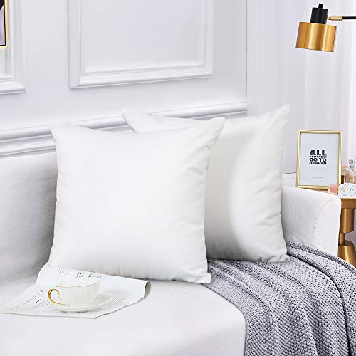 Leeden White Throw Pillow Covers 18X18 Set of 2 Snow White Pillow Cover Decorative for Bedroom Décor Chair Cushion Case for Outdoor Couch Sofa Bed, White Square Pillow Cases 18x18 inch(45x45cm)