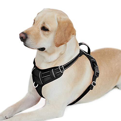 BARKBAY Hundegeschirr mit Clip vorne, strapazierfähig, reflektierend, leicht zu kontrollieren, Griff für große Hunde, mit ID-Tagentasche (schwarz, L)