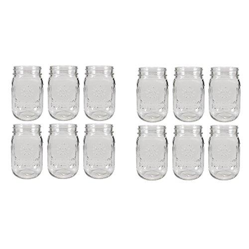 Sunshine Mason Co. Pint Size (16 ounce, 473 mL) Regular Mouth Drinking Glass Mason Jars 12 Pieces