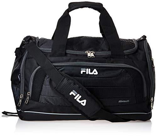 Fila unisex-adult Cypress Small Sport Duffel Bag, Black/Grey, One siz