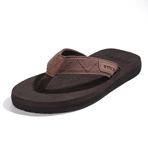 FITORY Men's Flip-Flops, Thongs Sandals Comfort Slippers for Beach Brown Size 10