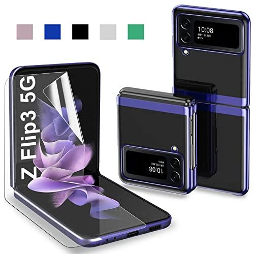 Handyhülle für Samsung Galaxy Z Flip3 5G Hülle [mit weiche Bildschirmschutzfolie] Faltbares Hülle Durchsichtig Kratzfest Transparent Anti-Gelb Anti-Fingerabdruck Hülle Schutzhülle Samsung Z Flip3 5G Slim